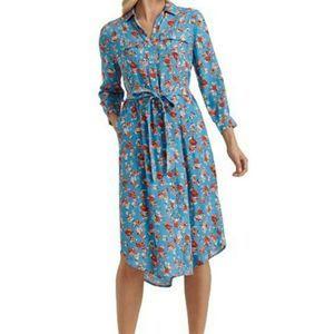 Lucky Brand Chelsea Flower Blue Shirt Dress XL